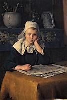 """Europe/France/Bretagne/56/Morbihan/Vannes: Musée de la Cohue (Musée des Beaux-Arts) - """"Jeune bretonne"""" (1885) par Flavien-Louis Peslin"""