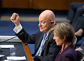 """Former Director of National Intelligence of the United States James R. Clapper gives testimony before the US Senate Committee on the Judiciary Subcommittee on Crime and Terrorism hearing titled """"Russian Interference in the 2016 United States Election"""" on Capitol Hill in Washington, DC on Monday, May 8, 2017.<br /> Credit: Ron Sachs / CNP<br /> (RESTRICTION: NO New York or New Jersey Newspapers or newspapers within a 75 mile radius of New York City)"""