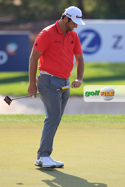 Jon Rahm (ESP) on the 15th green during the final round of the DP World Tour Championship, Jumeirah Golf Estates, Dubai, United Arab Emirates. 18/11/2018<br /> Picture: Golffile | Fran Caffrey<br /> <br /> <br /> All photo usage must carry mandatory copyright credit (© Golffile | Fran Caffrey)