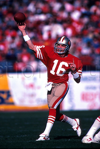 12.1985 Quarterback Joe Montana of the San Francisco 49ers passes the football during the Niners 31-16 victory over the Dallas Cowboys at Candlestick Park in San Francisco, CA...
