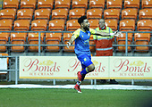 18/12/18 The Emirates FA Cup, 2nd Round Replay Blackpool v Solihull Moor<br /> <br /> Adi Yussuf celebrates after scoring Solihull Moors first goal