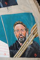CULTUUR: GOINGARIJP: 04-05-2015, Fok SKS Skûtsjes en portretten van de schippers geschilderd door oud skûtsjeschipper Anne Tjerkstra, zelfportret, ©foto Martin de Jong