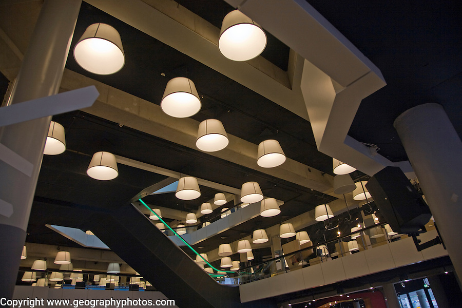 Electric lights in public library Rotterdam, South Holland, Netherlands