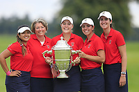 Lilia Vu, Team Captain Stasia Collins, Jennifer Kupcho and Kristen Gillman and Sarah Dunman Team Manager Team USA with the Espirito Santo Trophy after the final of the World Amateur Team Championships 2018, Carton House, Kildare, Ireland. 01/09/2018.<br /> Picture Fran Caffrey / Golffile.ie<br /> <br /> All photo usage must carry mandatory copyright credit (&copy; Golffile | Fran Caffrey)