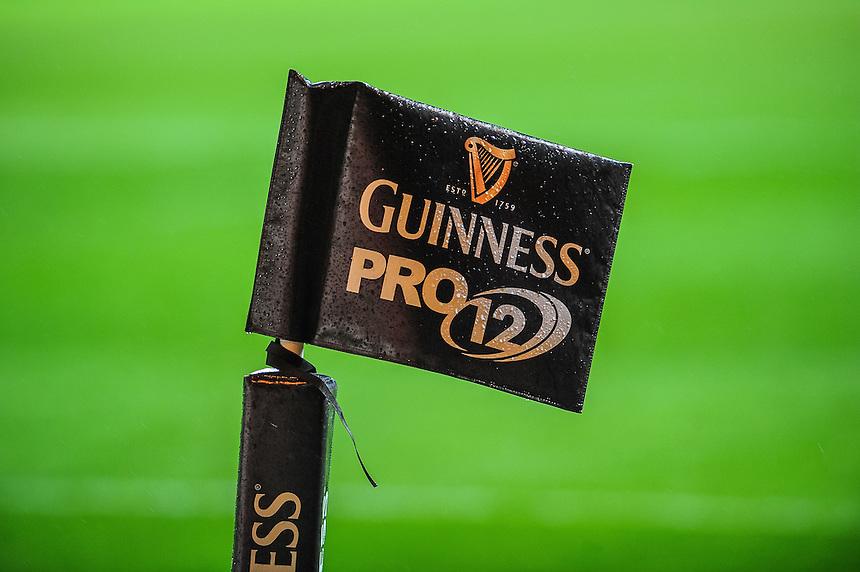 Guinness pro flag<br /> <br /> Photographer Craig Thomas/CameraSport<br /> <br /> Rugby Union - Guinness PRO12 - Scarlets v Zebre - Saturday 1st November 2014 - Parc y Scarlets - Llanelli<br /> <br /> &copy; CameraSport - 43 Linden Ave. Countesthorpe. Leicester. England. LE8 5PG - Tel: +44 (0) 116 277 4147 - admin@camerasport.com - www.camerasport.com