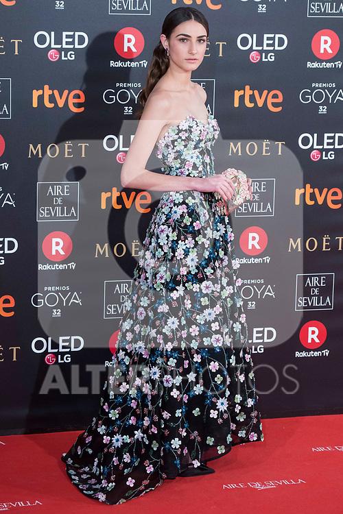 Sandra Escacena attends red carpet of Goya Cinema Awards 2018 at Madrid Marriott Auditorium in Madrid , Spain. February 03, 2018. (ALTERPHOTOS/Borja B.Hojas)