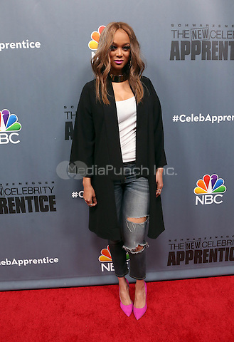 "Universal City, CA - DECEMBER 09: Tyra Banks, At Q&A For NBC's "" The New Celebrity Apprentice"" At NBC Universal Lot, California on December 09, 2016. Credit: Faye Sadou/MediaPunch"