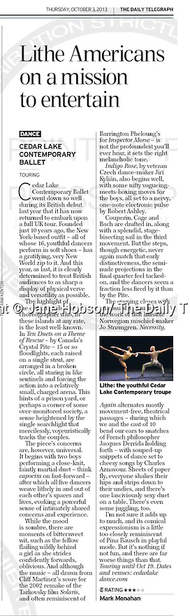 Cedar Lake Contemporary Ballet, The Daily Telegraph - 3 Oct 2013 - Page #32