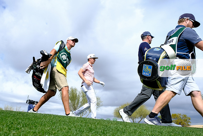 Cameron Smith (AUS) and Matt Kucher (USA) walking off the 9th tee during the 3rd round of the Waste Management Phoenix Open, TPC Scottsdale, Scottsdale, Arisona, USA. 02/02/2019.<br /> Picture Fran Caffrey / Golffile.ie<br /> <br /> All photo usage must carry mandatory copyright credit (© Golffile | Fran Caffrey)