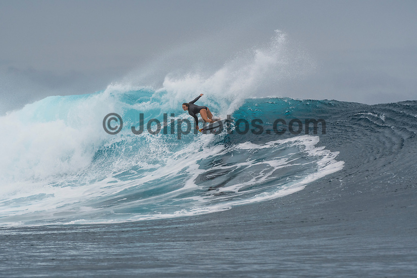 Namotu Island Resort, Nadi, Fiji (Monday, May 22 2017): Carissa Moore (HAW) - The wind  this morning was light from the South South East with high tide around 3.30pm.  The swell had jumped overnight and continued to build through the day. Cloudbreak had 10' plus faces and was barreling through the inside ,especially around the 9.30 low tide. A big group of pro surfers, both male and female, were surfing Cloudbreak in preparation for the OK Fiji Pro which begins on Saturday. Guests surfed Cloudbreak and Lefts.   The fishing crew returned with a catch of Ruby Snapper. Photo: joliphotos.com