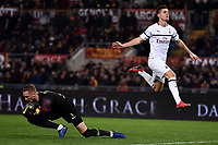 Patrick Robin Olsen of AS Roma saves on Krzysztof Piatek of AC Milan during the Serie A 2018/2019 football match between AS Roma and AC Milan at stadio Olimpico, Roma, February 3, 2019 <br />  Foto Andrea Staccioli / Insidefoto