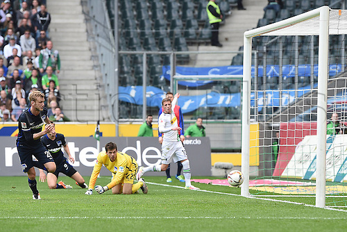 03.04.2016. Monchengladbach, Germany.  Bundesliga Football. Borussia Monchengladbach versus Hertha Berlin. The shot from Thorgan Hazard Moenchengladbach rolls over the goal line slowly