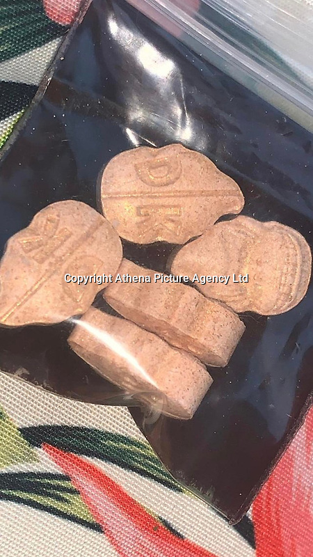 Pictured: Donkey Kong ecstasy tablets.<br /> Re: A 13-year-old boy, named locally as Carson Price,  has died after being found unconscious in Ystrad Mynach Park, Caerphilly County, at about 7.20pm on Friday 12 April.<br /> The teen was taken to University Hospital of Wales in Cardiff where he was pronounced dead.