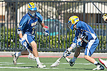 Orange, CA 05/01/10 - Nate Wellin (UCSB # 7) and Ryan Souza (UCSB # 1) in action during the UC Santa Barbara-Arizona State MCLA SLC semi-final game in Wilson Field at Chapman University.  Arizona State advanced to the final by defeating UC Santa Barbara 13-9.