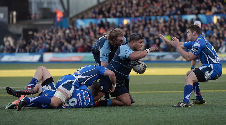 Cardiff Blues' Nick Williams is tackled by Dragons' Tavis Knoyle<br /> <br /> Photographer Ian Cook/CameraSport<br /> <br /> Guinness PRO12 Round 11 - Cardiff Blues v Newport Gwent Dragons - Monday 26th December 2016 - Cardiff Arms Park - Cardiff<br /> <br /> World Copyright &copy; 2016 CameraSport. All rights reserved. 43 Linden Ave. Countesthorpe. Leicester. England. LE8 5PG - Tel: +44 (0) 116 277 4147 - admin@camerasport.com - www.camerasport.com