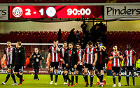 Sheffield United celebrate at the end of the game during the Sky Bet Championship match between Sheff United and Queens Park Rangers at Bramall Lane, Sheffield, England on 20 February 2018. Photo by Stephen Buckley / PRiME Media Images.