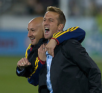 Real Salt Lake head coach Jason Kreis celebrates his team's advancement to the postseason. Real Salt Lake earned a tied versus the Colorado Rapids securing a place in the postseason. Dick's Sporting Goods Park, Denver, Colorado, October, 25, 2008. Photo by Trent Davol/isiphotos.com
