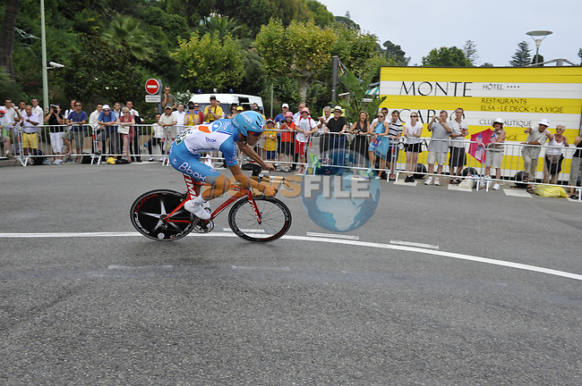 Bbox team rider Said Haddou (FRA) rounds the hairpin during the 1st stage prologue of the 2009 Tour de France in Monaco, 4th July 2009 (Photo by Eoin Clarke/NEWSFILE)
