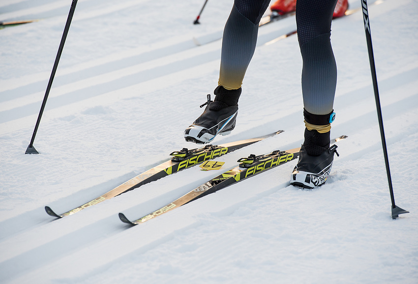 Skiers take their places at the start during the 2018 U.S. National Cross Country Ski Championships at Kincaid Park in Anchorage.