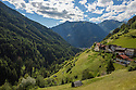 Rural village and alpine meadows. Nordtirol, Austrian Alps, Austria, July.