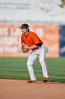 Frederick Keys second baseman Preston Palmeiro (7) during the first game of a doubleheader against the Lynchburg Hillcats on June 12, 2018 at Nymeo Field at Harry Grove Stadium in Frederick, Maryland.  Frederick defeated Lynchburg 2-1.  (Mike Janes/Four Seam Images)