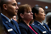 United States Army Colonel Kathryn Spletstoser, center, who has said she was sexually assaulted by US Air Force General John E. Hyten, listens to the testimony before the US Senate Committee on Armed Services during his confirmation hearing on Capitol Hill in Washington D.C., U.S. on July 30, 2019. <br /> Credit: Stefani Reynolds / CNP