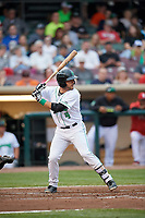 Dayton Dragons third baseman John Sansone (4) at bat during a game against the Cedar Rapids Kernels on May 10, 2017 at Fifth Third Field in Dayton, Ohio.  Cedar Rapids defeated Dayton 6-5 in ten innings.  (Mike Janes/Four Seam Images)