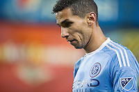 BRONX, NY - Thursday April 16, 2015: Expansion team New York City FC ties the Philadelphia Union 1-1 at home at Yankee Stadium during the MLS regular season.