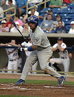 May 12, 2004:  Xavier Paul of the Columbus Catfish, South Atlantic League (low-A) affiliate of the Los Angeles Dodgers, during a game at Classic Park in Eastlake, OH.  Photo by:  Mike Janes/Four Seam Images