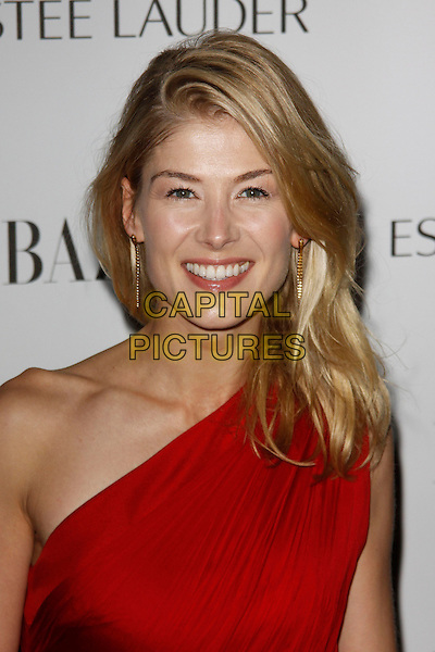 Rosamund Pike.Harper's Bazaar Women of the Year Awards, Claridge's Hotel, London, England..31st October 2012.headshot portrait red one shoulder smiling .CAP/AH.©Adam Houghton/Capital Pictures.