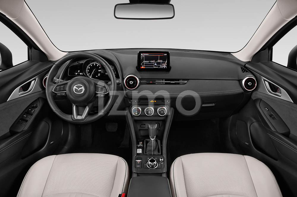 Stock photo of straight dashboard view of 2019 Mazda CX-3 Grand-Touring 5 Door SUV Dashboard