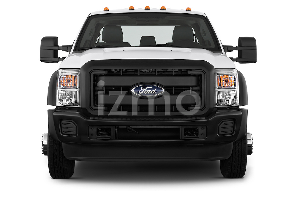 Straight front view of a 2013 Ford F-450 XLT Super Duty Crew Cab Truck.