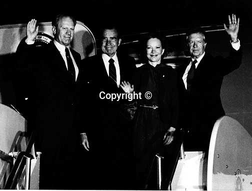 Presidents Gerald Ford Richard Nixon Rosalynn Carter and Jimmy Carter on Air Force One,