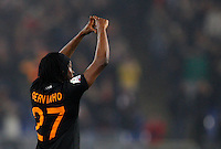 Calcio, semifinale di andata di Coppa Italia: Roma vs Napoli. Roma, stadio Olimpico, 5 febbraio 2014.<br /> AS Roma forward Gervinho, of Ivory Coast, celebrates after scoring during the Italian Cup first leg semifinal football match between AS Roma and Napoli at Rome's Olympic stadium, 5 February 2014.<br /> UPDATE IMAGES PRESS/Riccardo De Luca