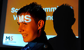 Picture shows Ryan McLaughlin (seen in the light of a seminar lighting display) who has campaigned on Multiple Sclerosis issues, after his mother, Kirsten, was diagnosed with the condition - picture by Donald MacLeod 21.09.10 - mobile 07702 319 738 - clanmacleod@btinternet.com - www.donald-macleod.com