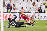 Goalkeeper Khalid Eisa Bilal of United Arab Emirates (L) reaches for the ball after an attempt at goal by Hamid Ismaeil Khaleefa of Qatar (C) during the AFC Asian Cup UAE 2019 Semi Finals match between Qatar (QAT) and United Arab Emirates (UAE) at Mohammed Bin Zaied Stadium  on 29 January 2019 in Abu Dhabi, United Arab Emirates. Photo by Marcio Rodrigo Machado / Power Sport Images