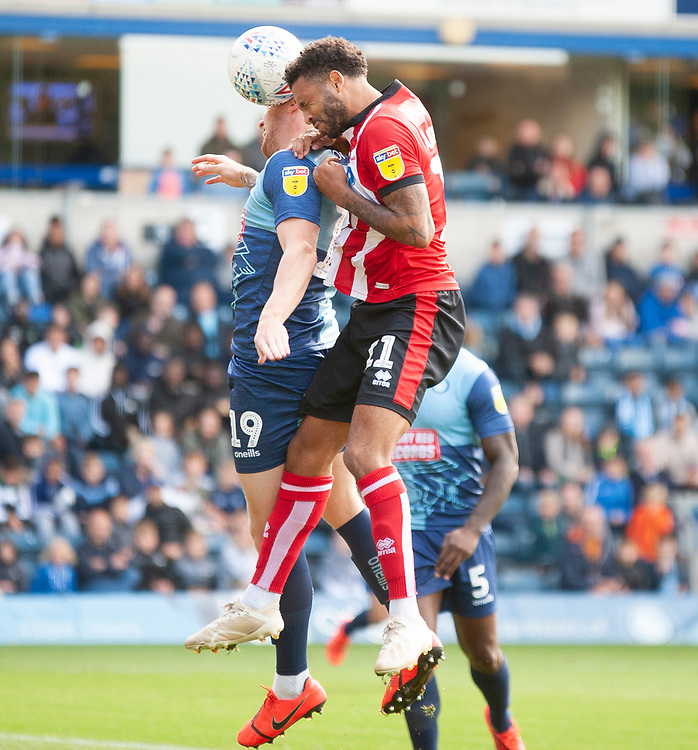 Lincoln City's Bruno Andrade battles with Wycombe Wanderers' Jack Grimmer<br /> <br /> Photographer Andrew Vaughan/CameraSport<br /> <br /> The EFL Sky Bet League One - Wycombe Wanderers v Lincoln City - Saturday 7th September 2019 - Adams Park - Wycombe<br /> <br /> World Copyright © 2019 CameraSport. All rights reserved. 43 Linden Ave. Countesthorpe. Leicester. England. LE8 5PG - Tel: +44 (0) 116 277 4147 - admin@camerasport.com - www.camerasport.com
