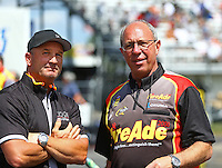 Mar 20, 2016; Gainesville, FL, USA; NHRA top fuel team owner Bob Vandergriff Jr (left) with crew chief Mike Guger during the Gatornationals at Auto Plus Raceway at Gainesville. Mandatory Credit: Mark J. Rebilas-USA TODAY Sports