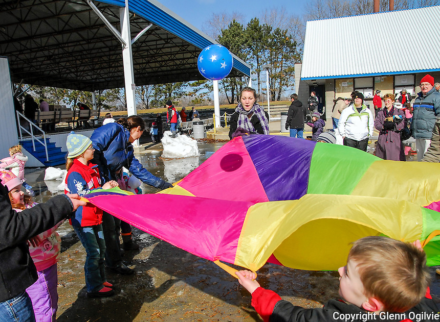 Games, hot dogs and chilly kept over 600 kids,  parents and grandparents warm and entertained for their first Family Day at the Dow People Place at Centennial Park.