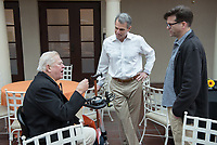 From left, Larry Layne '71, Jeffrey B. Goldstein '86 and VP for Institutional Advancement Charlie Cardillo.<br /> Occidental College alumni, staff and other members of the Oxy community gather in support of the football program, March 10, 2018 on Branca Patio.<br /> In January 2018 a 16-member task force of trustees, faculty, students, staff and alumni met to determine the fate of the football program in the wake of the premature end of the 2017 season. The College is moving full speed ahead with preparations for the 2018 season, led by the Football Action Team.<br /> (Photo by Marc Campos, Occidental College Photographer)