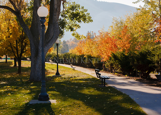 Sidewalk along the Clark Fork River through downtown Missoula, Montana
