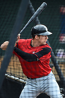 New Britain Rock Cats shortstop A.J. Pettersen (32) in the batting cage during practice before a game against the Harrisburg Senators on April 28, 2014 at Metro Bank Park in Harrisburg, Pennsylvania.  Harrisburg defeated New Britain 9-0.  (Mike Janes/Four Seam Images)