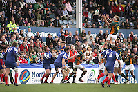 South Africa second row Martin Muller collects this lineout ball during the Division A U19 World Championship clash against France at Ravenhill.