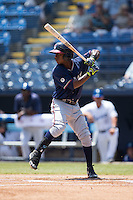 Ozhaino Albies (7) of the Rome Braves at bat against the Asheville Tourists at McCormick Field on July 26, 2015 in Asheville, North Carolina.  The Tourists defeated the Braves 16-4.  (Brian Westerholt/Four Seam Images)