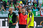 31.08.2019, Volkswagen Arena, Wolfsburg, GER, 1.FBL, VfL Wolfsburg vs SC Paderborn<br /> <br /> DFL REGULATIONS PROHIBIT ANY USE OF PHOTOGRAPHS AS IMAGE SEQUENCES AND/OR QUASI-VIDEO.<br /> <br /> im Bild / picture shows<br /> Daniel Schlager (Schiedsrichter / referee) zeigt Klaus Gjasula (Paderborn #08) die Gelbe Karte nach Foulspiel an Felix Klaus (VfL Wolfsburg #11) (nicht im Bild), <br /> <br /> Foto © nordphoto / Ewert