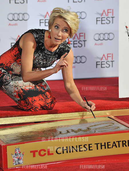 Emma Thompson at the TCL Chinese Theatre where she was honored by having her hand &amp; footprints set in cement.<br /> November 7, 2013  Los Angeles, CA<br /> Picture: Paul Smith / Featureflash