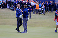 Matt Kucher (USA), Jordan Spieth (USA) on the 18th during final round of The Open Championship 146th Royal Birkdale, Southport, England. 23/07/2017.<br /> Picture Fran Caffrey / Golffile.ie<br /> <br /> All photo usage must carry mandatory copyright credit (&copy; Golffile | Fran Caffrey)