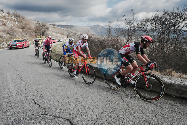 The breakaway featuring Thomas De Gendt (BEL) Lotto-Soudal, Polka Dot Jersey Nicolas Edet (FRA) Cofidis, Julian Alaphilippe (FRA) Deceunick-Quick Step, Alberto Bettiol (ITA) EF Pro Cycling, Aurélien Paret-Peintre AG2R La Mondiale and Anthony Perez (FRA) Cofidis during Stage 7 of the 78th edition of Paris-Nice 2020, running 166.5km from Nice to Valdeblore La Colmiane, France. 14th March 2020.<br /> Picture: ASO/Fabien Boukla   Cyclefile<br /> All photos usage must carry mandatory copyright credit (© Cyclefile   ASO/Fabien Boukla)