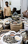 Spices sellers in Chandni Chowk Market, in Old Delhi, India