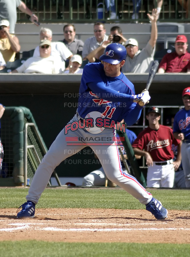 March 26, 2004:  Peter Bergeron of the Montreal Expos (Washington Nationals) organization during Spring Training at Osceola County Stadium in Kissimmee, FL.  Photo copyright Mike Janes/Four Seam Images